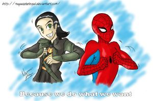 Loki and Spidey by NayaaseBeleguii