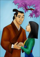 DC - Shang and Mulan (color) by vanillacoke-disney