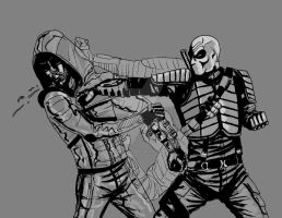 Deathstroke vs Arrow grey by LucasBoltagon