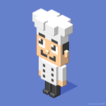 Chef cook isometric pixel character design by m7
