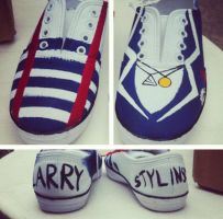 Larry Stylinson One Direction Hand Painted Shoes by chloebdesigns