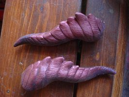 Red copper dragon barrettes by missmonster