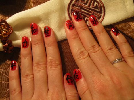 Kanji nails by Santian69