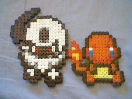 Absol and Charmander Bead Art by Poke-Beads