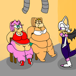 Request: Amy and Tikal being force fed by Rouge by sonicfatties12