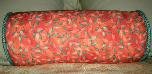 Ghost Leaves on Peach Pillow by UrsulaPatch