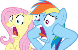 Fluttershy and Rainbow Dash Shocked by Spyro4287