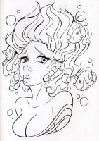 Lineart Shy Siren by AbrahamGart