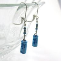 Original Lucky Capacitor and Resistor Earrings by Techcycle