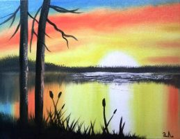 My first painting SUNSET by lihnida
