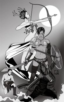 The Three Graces Of War [black and white lineart] by crcarlosrodriguez