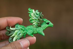 Green Feather Dragon Pendant 2 by Len-Corcino