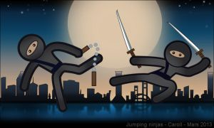 Jumping ninjas by whiteowl152