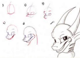 Dragon Tutorial 2: Grinning - 3/4 view by BurgerDragon