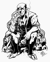hellboy thinker ink by jetdog-art