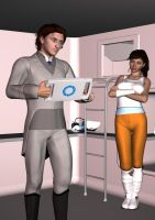Wheatley and Chell by Diranda