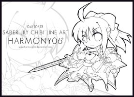 Line Art: Saber Lily Chibi by harmony06