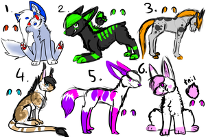 Adoptables OPEN by WolfGirlGreenStar