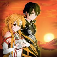 Asuna and Kirito from Sword Art Online by SC2Battousai