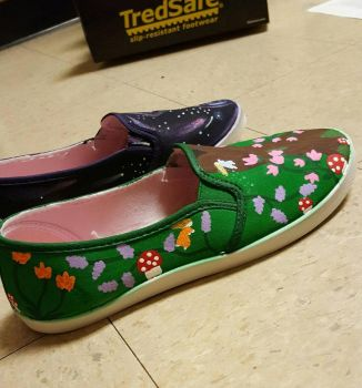 Customised Shoes, Green Right Side View by CaelansFolly1992