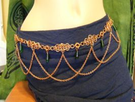 Copper belt with green drops by BacktoEarthCreations
