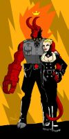 Nazi Hellboy and Ilsa. by hedbonstudios