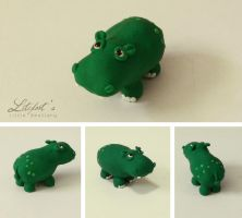 Little Green Hippo by LitefootsLilBestiary