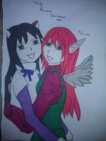 Vixie and Aurora Christmas 2011 by Little-Red-Shinigami