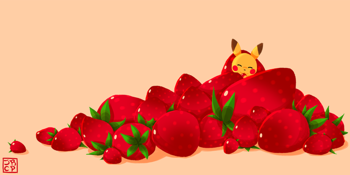 Pikachu and Strawberries by Katie-Yoshi