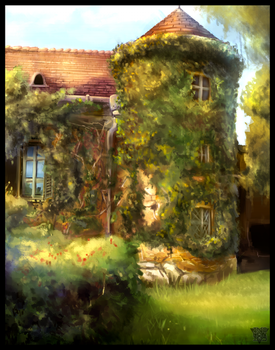 Overgrown mansion by MalthusWolf