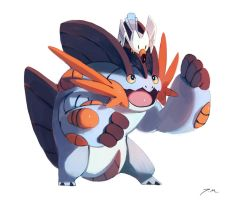 Mega Swampert and Wingull by bluekomadori