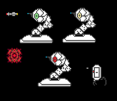 8-bit Portal Turret and Sentry by MetarsusDemented