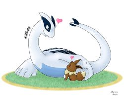 Lugia and Eevee by Nacome