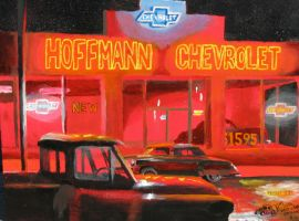 Neon Light Nights (Chevy Dealership Circa 1951) by FastLaneIllustration