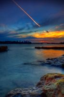 Jet trail over Sydney harbour by Kounelli1