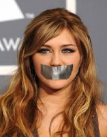 Miley Cyrus Gagged by stapler20