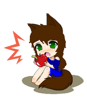 Chibi Night Apple Time ^^ by Deathnightwolf