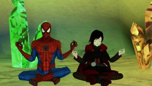 Spider-Man and Ruby Rose mediating by kongzillarex619