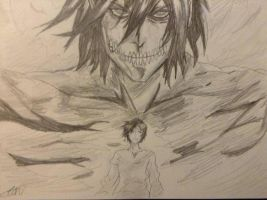 Eren And His Titan Sketch by scootalootheotaku007