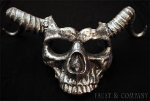 SKULL MASK WITH HORNS in pewter finish by Faust-and-Company