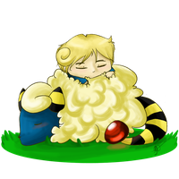 New Zeland and Mareep by IcyLeafeon