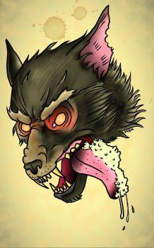 Traditional Tattoo Wolf by Psychoead