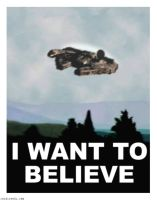 Millennium Falcon X files I Want to Believe Poster by Rabittooth