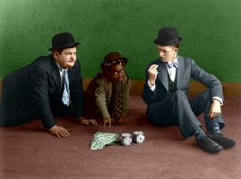 Laurel and Hardy Colorized by ajax1946