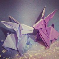 origami bunnies by abunnydance