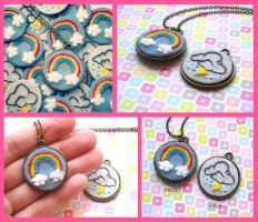 Double Sided Embroidered Rainbow Cloud Necklace by The-Gwyllion