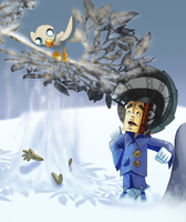 Marlon with swoop and sackboy in the snow by pink-ninja
