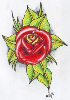 Neo Trad Rose tattoo flash by vikingtattoo