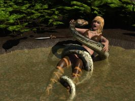 Kyla the Jungle Girl vs Snake by RustyShackleford123