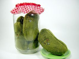 pickle jar plushes by MotherMayIjewelry